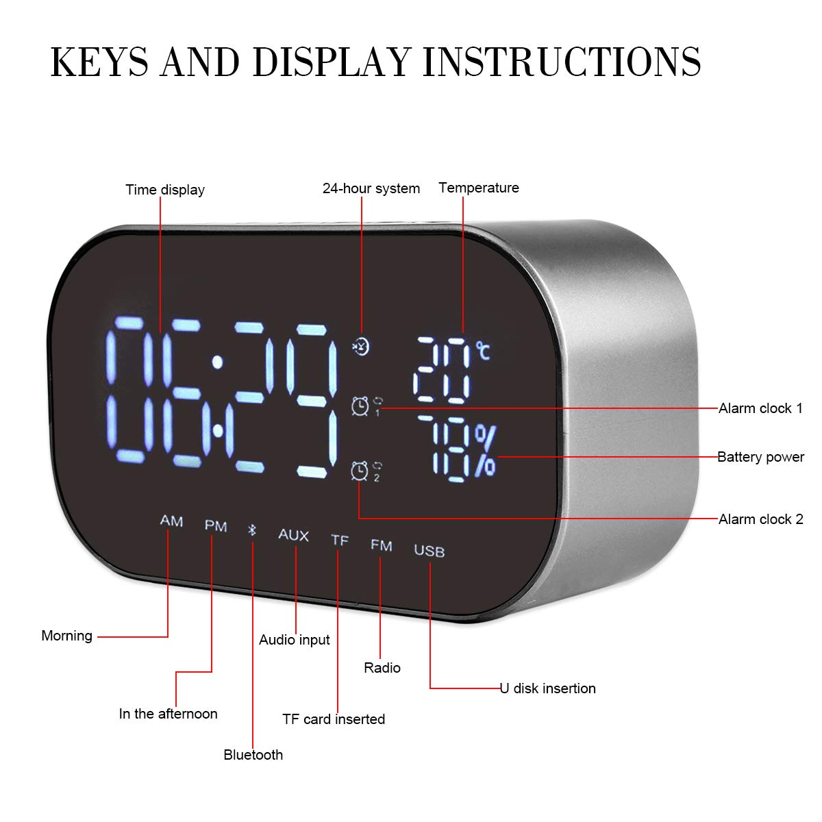 Mirror Design LED Bluetooth Wireless Speaker Alarm CLock