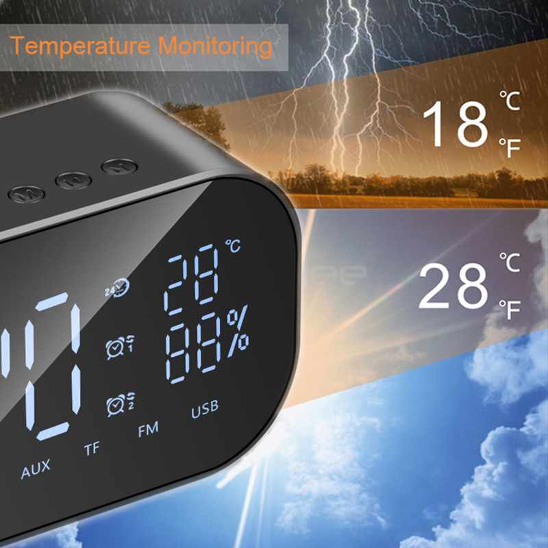 Temperature Monitoring Alarm Clock with Wireless Speaker and Built in FM Radio